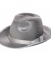 Maffia hoed zilver zwart gestreept