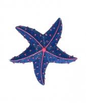 Magneten glitter zeester donkerblauw 7 5 cm