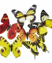 Magneten vlinder geel oranje 13 5 cm