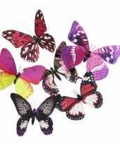 Magneten vlinder roze paars 13 5 cm