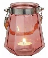 Maritieme kaarsenhouder roze 14 cm