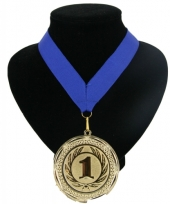 Medaille nr 1 halslint blauw