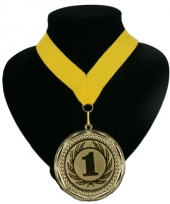Medaille nr 1 halslint geel