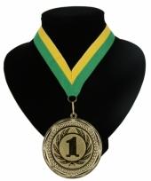 Medaille nr 1 halslint groen en geel