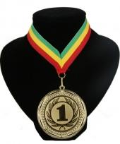Medaille nr 1 halslint groen geel rood