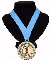 Medaille nr 1 halslint lichtblauw