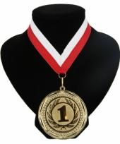 Medaille nr 1 halslint rood en wit