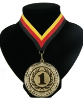 Medaille nr 1 halslint rood geel zwart