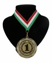 Medaille nr 1 halslint rood wit en groen