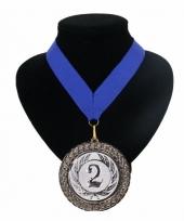 Medaille nr 2 halslint blauw