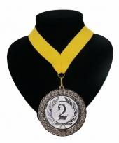 Medaille nr 2 halslint geel