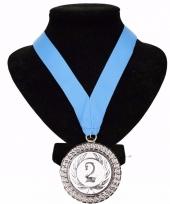 Medaille nr 2 halslint lichtblauw