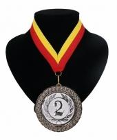 Medaille nr 2 halslint rood en geel