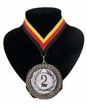 Medaille nr 2 halslint rood geel zwart