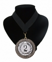 Medaille nr 2 halslint zwart