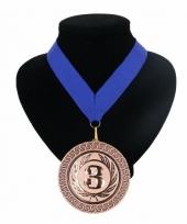 Medaille nr 3 halslint blauw