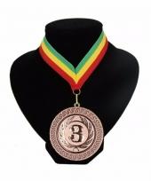 Medaille nr 3 halslint groen geel rood