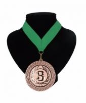 Medaille nr 3 halslint groen