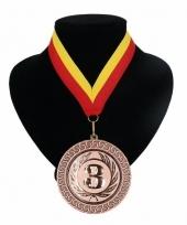 Medaille nr 3 halslint rood en geel