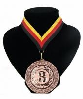 Medaille nr 3 halslint rood geel zwart