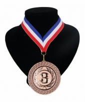 Medaille nr 3 halslint rood wit blauw