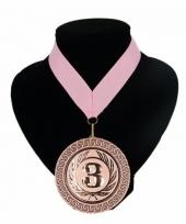 Medaille nr 3 halslint roze