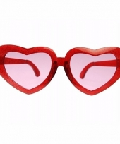 Mega bril met hartjes montuur rood