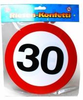 Mega confetti snippers 30 jaar verkeersbord 20 cm
