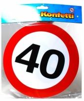 Mega confetti snippers 40 jaar verkeersbord 20 cm