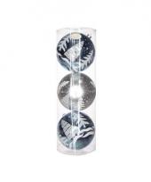 Mega kerstballen blauw zilver 3 stuks 15 cm