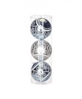 Mega kerstballen zilverblauw 3 stuks 15 cm