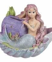 Meisjes spaarpot met zeemeermin en paarse schatkist