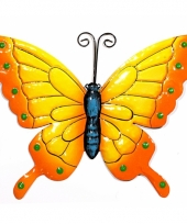 Metalen decoratie vlinder geel oranje 22 cm
