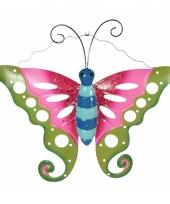 Metalen decoratie vlinder groen roze 41 cm