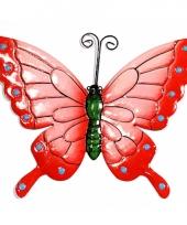 Metalen decoratie vlinder roze 22 cm