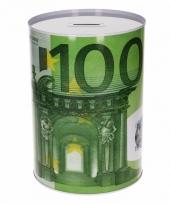 Metalen spaarpot 100 euro biljet