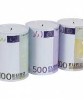 Metalen spaarpot 200 euro biljet