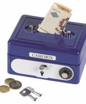 Metalen spaarpot geldkistje blauw