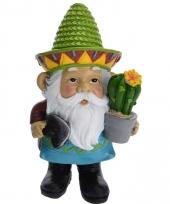 Mexicaanse tuin kabouter met groene sombrero 17 cm