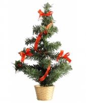 Mini kerst decoratie boompje goud rood 36 cm