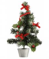 Mini kerst decoratie boompje zilver rood 36 cm