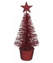 Mini kerstboom in de kleur rood 15 cm