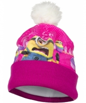Minion kindermuts roze met fleece