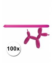 Modelleerballon roze zak met 100 stuks