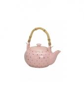 Mooie luxe keramieke theepot roze