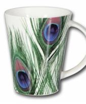 Mooie pauwen veren koffie soep thee mok