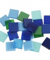 Mozaiek stenen groen blauw 10x10 mm