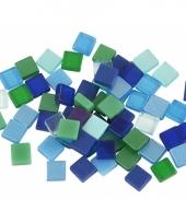 Mozaiek stenen groen blauw 5x5 mm