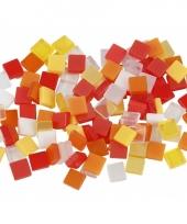 Mozaiek stenen rood oranje 5x5 mm