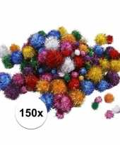 Multi kleur decoratieve pompons met glitters 15 40 mm 10107819